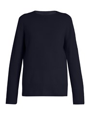 The Row Sibel Wool And Cashmere Blend Sweater Navy
