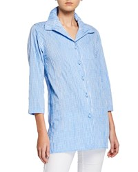 Caroline Rose Button Front Crinkled Gingham Shirt With Ruched Collar Blue White