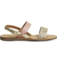 Office Honey Glitter Sling Back Leather Sandals Pink Glitter