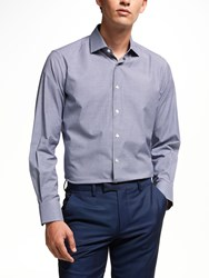 Smyth And Gibson Non Iron Cotton Poplin Gingham Contemporary Fit Shirt Navy
