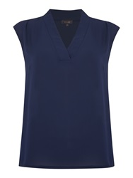 Pied A Terre V Neck Woven Top Navy