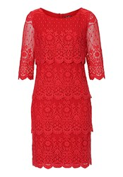 Vera Mont Lace Layered Shift Dress Red