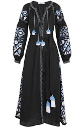 March11 Kilim Embroidered Linen Maxi Dress Black