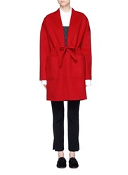 Ms Min Drawstring Waist Double Faced Wool Cashmere Coat Red