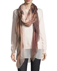Brunello Cucinelli Ombre Patterned Cashmere Scarf Rose Pink