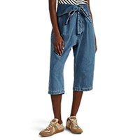 Loewe Oversized Belted Pleated Crop Jeans Blue
