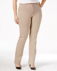 Charter Club Plus Size Lexington Tummy Control Colored Wash Straight Leg Jeans Only At Macy's Almond Latte