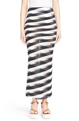 Women's Stella Mccartney Stripe Knit Cotton Maxi Skirt Navy Lily Transparen