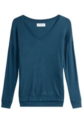 Velvet Waffle Texture Pullover Turquoise