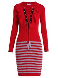 Sonia Rykiel Lace Up Ribbed Knit Striped Dress Red Multi