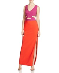Maria Bianca Nero Cutout Color Block Gown Raspberry Red