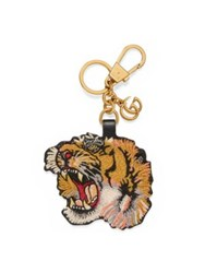 Gucci Tiger Embroidered Leather Keychain Gold