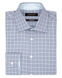 Jaeger Men's Puppytooth Modern Shirt Blue