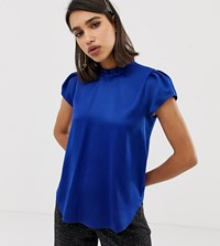 River Island Blouse With Cap Sleeves In Cobalt Blue