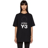 Y 3 Black Stacked Logo T Shirt