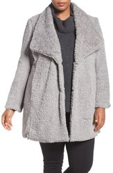 Kenneth Cole Plus Size Women's New York Faux Fur Drape Collar Coat