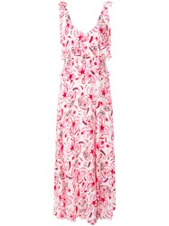 Dondup Printed Tiered Sleeveless Maxi Dress Pink And Purple