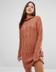 Missguided Chunky Cable Knit Mini Dress Toffee Tan