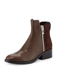 3.1 Phillip Lim Alexa Zip Leather Ankle Bootie Chocolate Espresso Choc Espr