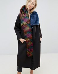 Asos Faux Fur High Low Tipped Bright Scarf Multi