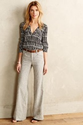 Anthropologie Pilcro Flared Linen Trousers Moss 2 Pants