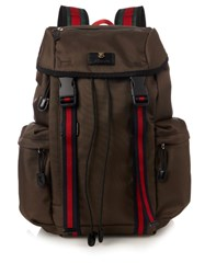 Gucci Techno Canvas Backpack Green Multi