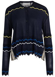 Peter Pilotto Metallic Plisse Back Fine Knit Cardigan Gold