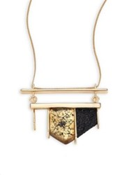 Alexis Bittar Crystal Encrusted Lucite Pendant Necklace Gold Multi