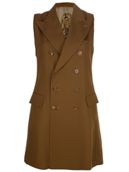 Jean Paul Gaultier Vintage Double Breasted Sleeveless Coat Brown