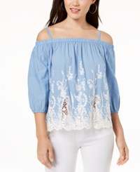 Amy Byer Bcx Juniors' Embroidered Chambray Off The Shoulder Blouse Chambray Blue