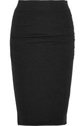 James Perse Ruched Stretch Cotton Jersey Skirt Black