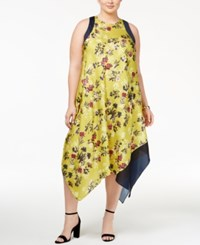 Rachel Roy Trendy Plus Size Handkerchief Hem Dress Gold Combo