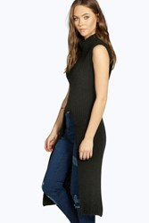 Boohoo Split Cowl Neck Tunic Black