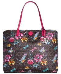 Giani Bernini Floral Signature Oversized Tote Only At Macy's Brown