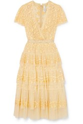 Needle And Thread Angelica Tiered Embroidered Tulle Midi Dress Yellow
