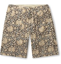 The Workers Club Paisley Print Brushed Cotton Shorts Neutrals