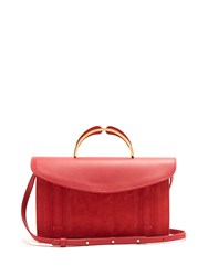 Mansur Gavriel Satchel Leather And Suede Top Handle Clutch Red