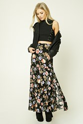 Forever 21 Tiered Floral Print Maxi Skirt Black Red