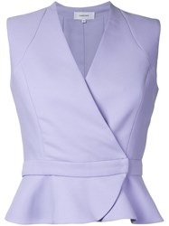 Carven Wrap Detail Sleeveless Shirt Pink Purple