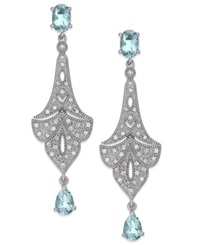 Macy's Aquamarine 1 3 8 Ct. T.W. And Diamond 1 8 Ct. T.W. Chandelier Earrings In Sterling Silver