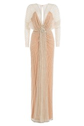 Jenny Packham Embellished Floor Length Gown Rose