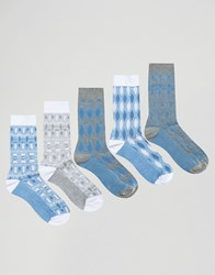 Asos Socks With Mixed Textures 5 Pack Blue