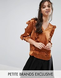 White Cove Petite Ruffle Detail Blouse Copper Orange