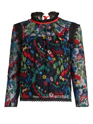 Saloni Elsa Floral Embroidered Tulle Top Navy Multi