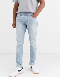 Hollister Distressed Skinny Jeans In Light Destroyed Wash Blue