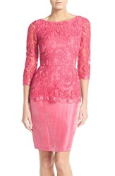 Women's Adrianna Papell Floral Embroidered Peplum Sheath French Coral