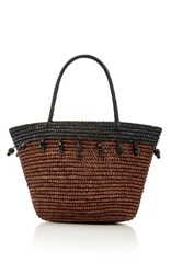 Sensi Studio Brown Beaded Canasta Tote