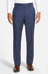 Jb Britches Men's Big And Tall 'Torino' Flat Front Wool Trousers French Blue