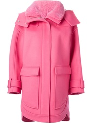 Emilio Pucci Fur Collar Hooded Coat Pink And Purple
