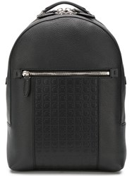 Salvatore Ferragamo Embossed Logo Backpack Black